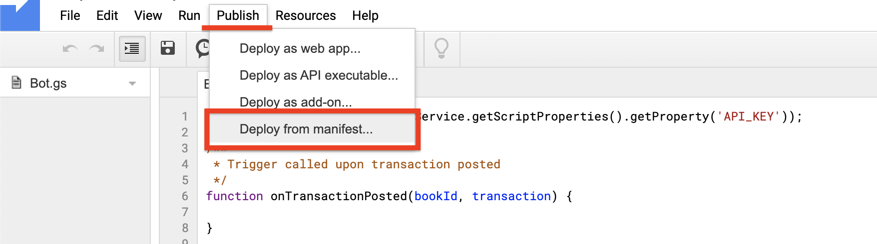 Apps Script Deploy from Manifest